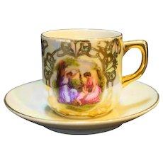 Fragonard Scene Demitasse Cup Saucer Porcelain Mother of Pearl Lustre