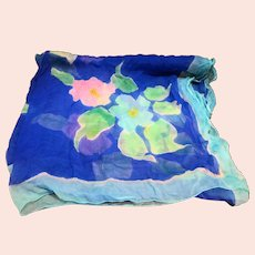 Peppermint Bay Hand Painted Silk Chiffon Large Floral Scarf