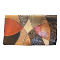 Furst & Mooney Snakeskin Patchwork Clutch Leather Brown