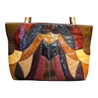 Caprice Snakeskin Lizard Karung Patchwork Tote Bag Purse Huge Multicolor