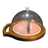 Woodland Red Plaid Gingham Ceramic Tile Cheese Board Plastic Dome