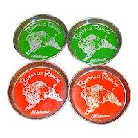 Buffalo Ranch Oklahoma Metal Coasters Red Green Set of 4