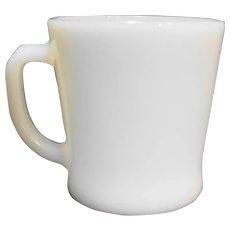 Fire King White Milk Glass D Handle Flared Mug