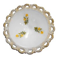 Anchor Hocking Lace Edge Milk Glass Flared Wide Compote Gold Rim Yellow Roses