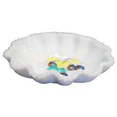 Westmoreland Beaded Edge Milk Glass Crimped Oval Bowl Hand Painted Fruit Raspberries