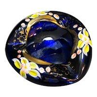 Bohemian Czech Glass Ashtray Cobalt Blue Gilt Gold Enamel Hand Painted