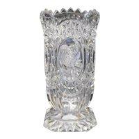 Vintage Hofbauer Byrdes Crystal Glass Bird Square Footed Vase