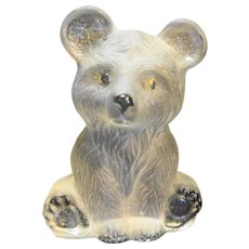 Viking Art Glass Frosted Bear Cub Figurine Bookend Paperweight