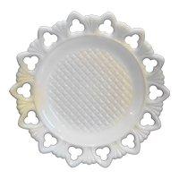 Kemple Shell & Club White Milk Glass Lattice Center Plate 9 IN