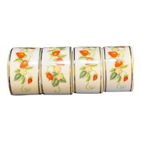 Avon Strawberries Napkin Rings Set of 4 Porcelain