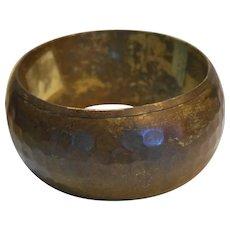 Hammered Brass Wide Bangle Bracelet India