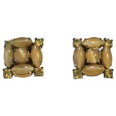 La Rel Beige Caramel Topaz Rhinestone Earrings