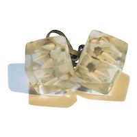 Lucite Ice Cube White Flower Earrings Screwbacks