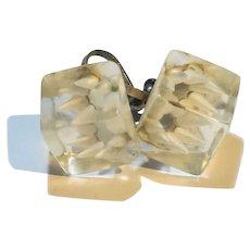 Lucite Ice Cube White Flower Earrings Screwbacks