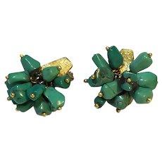 Green Stone Dangle Earrings 18K Gold Clips