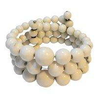 White Lucite Bead Wrap Bracelet