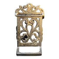 Vintage Cast Iron Match Safe Wall Mount Made in Taiwan