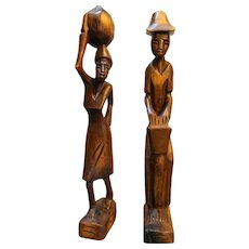 African Tribal Wood Carved Figurines Pair Man Woman