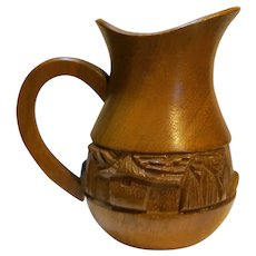 Carved Monkeypod Wood Creamer Palm Tree Thatch Hut