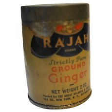 Rajah Ground Ginger Spice Tin Vintage