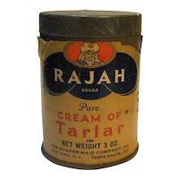 Rajah Cream of Tartar Spice Tin Vintage Mostly Full