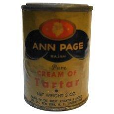 Ann Page Rajah Cream of Tartar Spice Tin Vintage