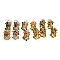 Santa Claus Angel Metal Christmas Tree Candle Clips Vintage Set of 12
