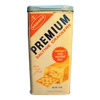 Premium Saltine Crackers Tin Canister 1969 Nabisco