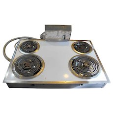 Hotpoint White Porcelain Electric Stove Cooktop 1960s