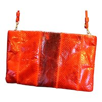 Clemente Red Cobra Snakeskin Clutch Convertible Purse
