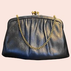 Ande Navy Blue Leather Convertible Clutch Purse Kiss Clasp