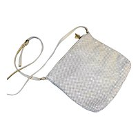 Whiting & Davis White Alumesh Shoulder Bag Made in Hong Kong