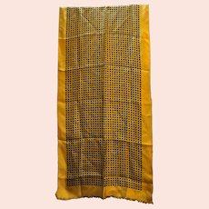 Echo Oblong Rectangle Silk Scarf Diamond Circle Print Earth Tones Brown Black Rust Gold