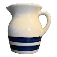 Robinson Ransbottom Williamsburg Blue Stripes Pottery Pitcher 1 Pt Size