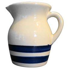 Robinson Ransbottom Williamsburg Blue Stripes Pottery Pitcher 1 Pt Size