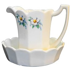 McCoy Floral Country Paneled White Flower Dogwood Pitcher Bowl