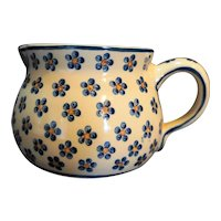 Williams Sonoma Hand Painted Pitcher Jug Blue Hand Painted Flowers