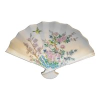 Enesco Japan Porcelain Fan Trinket Dish Pink Flowers Birds