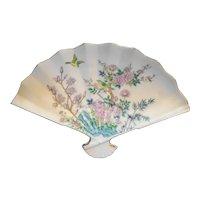 Enesco Japan Porcelain Fan Trinket Dish Pink Flowers Birds
