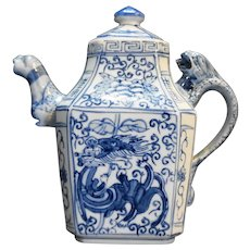 Blue White Dragon Foo Dog Chinese Porcelain Teapot Square Base