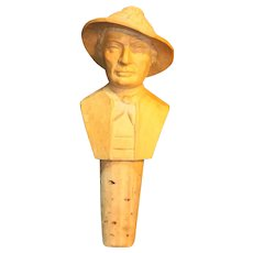 Finely Carved Natural Wood Man in Hat Bottle Stopper