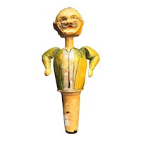 Carved Wood Man Mechanical Hand Painted Bottle Stopper