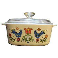 Corning Country Festival Friendship Blue Bird 1 1/2 Qt Casserole With Lid