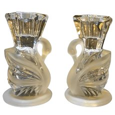 Lead Crystal Frosted Swans Candle Holders Pair Partylite