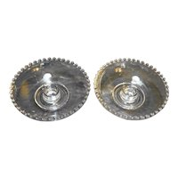 Candlewick Bowl Candle Holders Pair Single Light