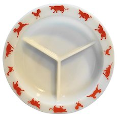 Hazel Atlas Kiddie Ware Red Animals Platonite Divided Plate