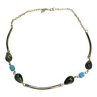 Sarah Coventry Green Blue Beads Gold Tone Necklace Choker