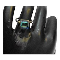 Cube Glass Adjustable Ring Blue Green Clear