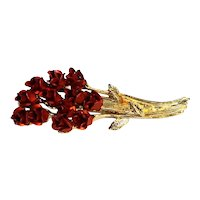 Red Metal Roses Bouquet Gold Tone Pin DM 97
