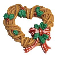 Hallmark Christmas Heart Wreath Pin